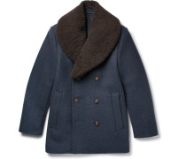 Shearling-trimmed Felted Wool-blend Peacoat
