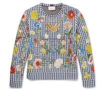 Floral-embroidered Gingham Neoprene Sweatshirt