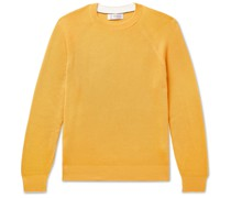 Contrast-Tipped Ribbed Cotton Sweater