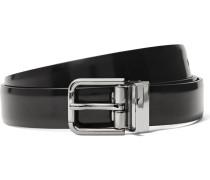 2.5cm Black Polished-leather Belt
