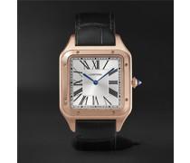 Santos-Dumont Hand-Wound 33.9mm Extra Large 18-Karat Rose Gold and Alligator Watch, Ref. No. WGSA0032