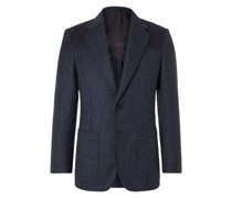 Slim-Fit Faux Suede-Trimmed Herringbone Wool Blazer