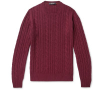 Slim-Fit Cable-Knit Mélange Baby Cashmere Sweater