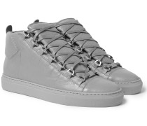 Arena Creased-leather High-top Sneakers