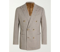 Unstructured Double-Breasted Pinstriped Wool Blazer