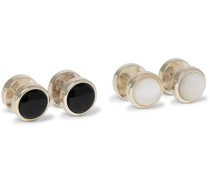 + Turnbull & Asser Silver-Tone, Mother-of-Pearl and Onyx Shirt Studs
