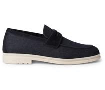 Summer City Walk Suede-Trimmed Wool-Blend Denim Loafers