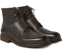 Ginkgo Pebble-grain Leather And Canvas Boots
