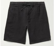 Tank Pleated Linen Drawstring Shorts
