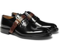 Buckle-detailed Polished-leather Oxford Shoes