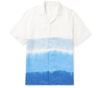Camp-Collar Tie-Dyed Linen Shirt