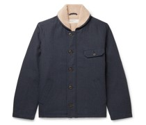 N1 Deck Faux Shearling-Lined Herringbone Cotton-Blend Jacket
