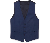 Slim-Fit Micro-Checked Wool Waistcoat