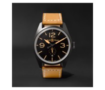 BR 123 Heritage Automatic 41mm PVD-Coated Steel and Leather Watch, Ref. No. BRV123-HERITAGE/2