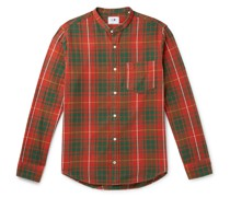 Justin Grandad-Collar Checked Cotton-Flannel Shirt