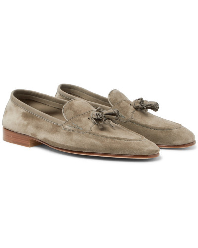 Portland Leather-trimmed Suede Tasselled Loafers - Gray green