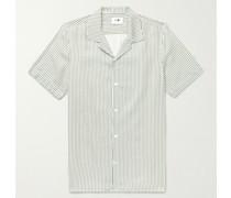 Miyagi Camp-Collar Striped TENCEL Shirt