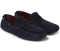 Leather-trimmed Suede Driving Shoes