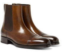 Edgar Burnished-leather Cap-toe Chelsea Boots