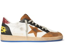 Ball Star Distressed Cracked-Leather and Suede Sneakers