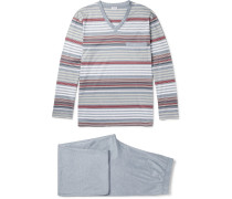 Striped Cotton-jersey Pyjama Set