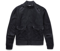 Slim-fit Suede Bomber Jacket