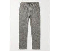 Tapered Mélange Cotton and Linen-Blend Sweatpants
