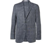Blue K-jacket Slim-fit Checked Woven Blazer