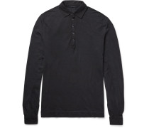 Slim-fit Garment-dyed Cotton-jersey Polo Shirt