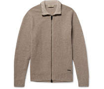 London Honeycomb-knit Wool And Cashmere-blend Zip-up Cardigan