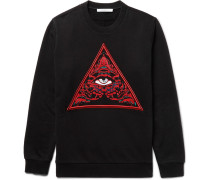Cuban-fit Embroidered Fleece-back Cotton-jersey Sweatshirt
