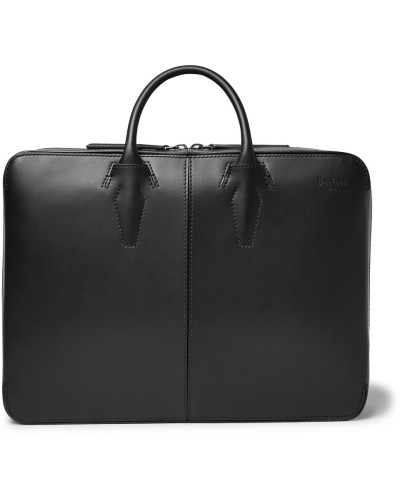 Spy Convertible Leather Briefcase And Backpack - Black