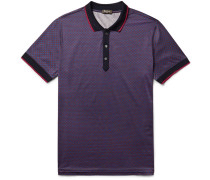 Contrast-tipped Printed Cotton-jersey Polo Shirt