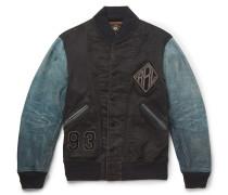 Kehoe Nubuck-panelled Appliquéd Cotton-twill Bomber Jacket