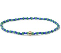 Glass, 14-Karat Gold and Sapphire Beaded Bracelet