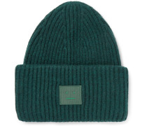 Appliquéd Ribbed Wool-blend Beanie