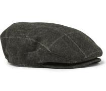 Checked Wool Flat Cap