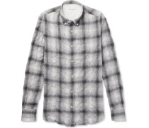Button-down Collar Checked Cotton-blend Flannel Shirt