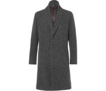 Shawl-collar Wool-blend Bouclé Coat
