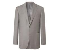 Slim-Fit Unstructured Checked Super 130s Wool Blazer