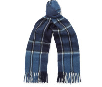 Fringed Checked Wool And Cashmere-blend Scarf