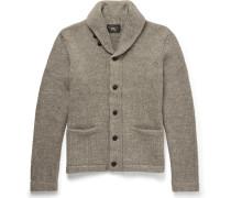 Shawl-collar Mélange Cotton Cardigan