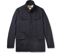 Leather-trimmed Storm System® Stretch-cashmere Field Jacket