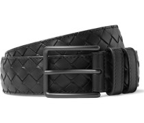 3.5cm Black Intrecciato Leather Belt