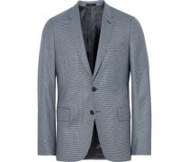 Blue Soho Slim-fit Houndstooth Wool Suit Jacket