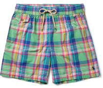 Traveler Mid-length Plaid Cotton-blend Swim Shorts