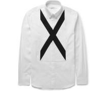 Cuban-fit Band-trimmed Cotton-poplin Shirt