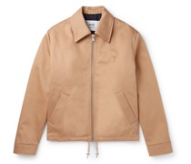 Logo-Embroidered Water-Repellent Cotton Jacket