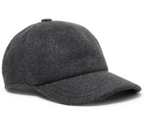 Leather-trimmed Cashmere Baseball Cap