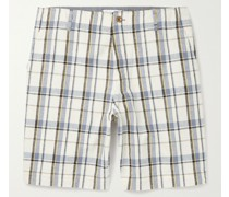 Checked Cotton and Linen-Blend Golf Shorts
